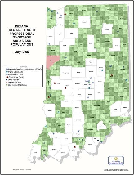 Dental Health Professional Shortage map