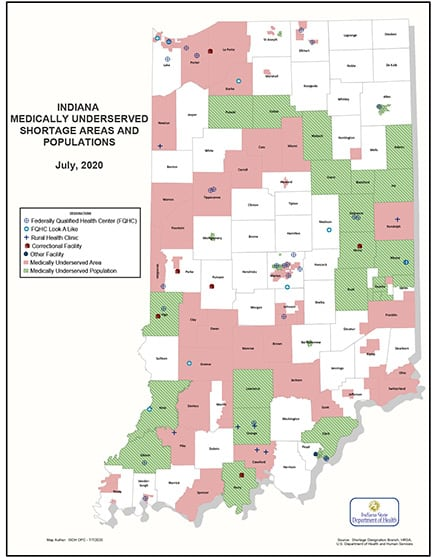 Medically Underserved Areas Map