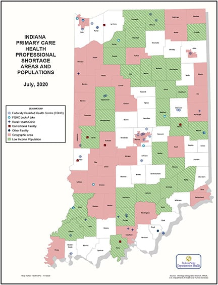 Primary Care HPSA map