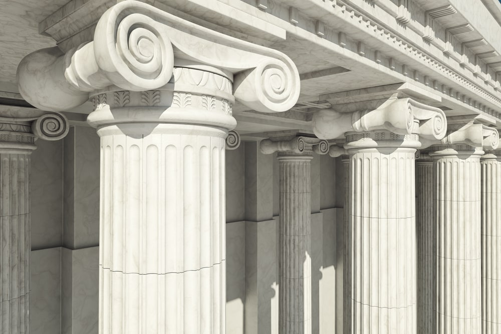 Close-up,Shot,Of,A,Line,Of,Greek-style,Columns.