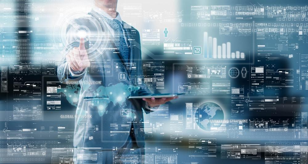 Businessman,Press,On,Digital,Screen,,Digital,Layer,Effect,,Business,Strategy