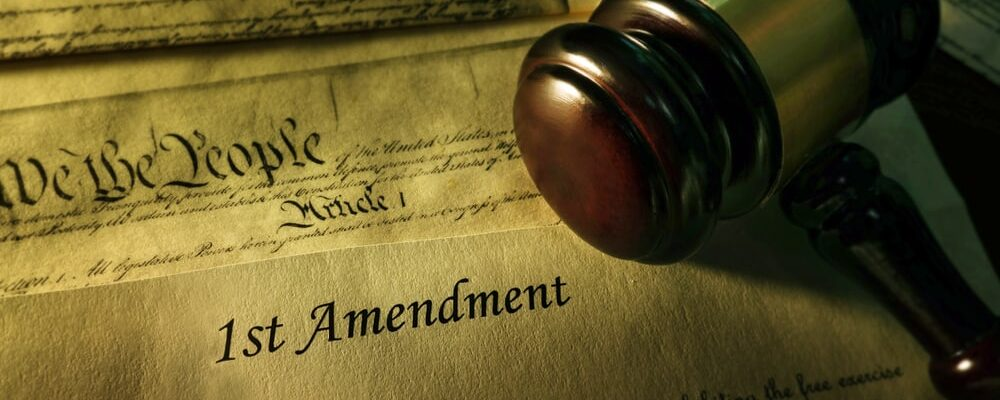 First,Amendment,Of,The,Us,Constitution,With,Court,Gavel