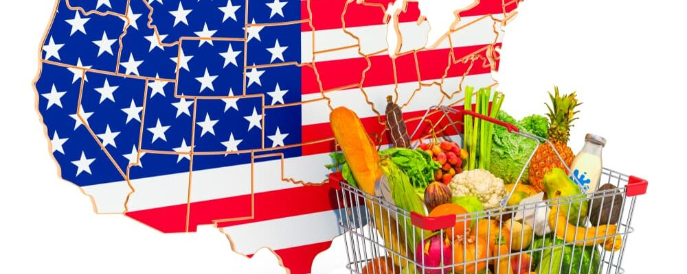 Purchasing,Power,And,Market,Basket,In,The,Usa,Concept.,Shopping