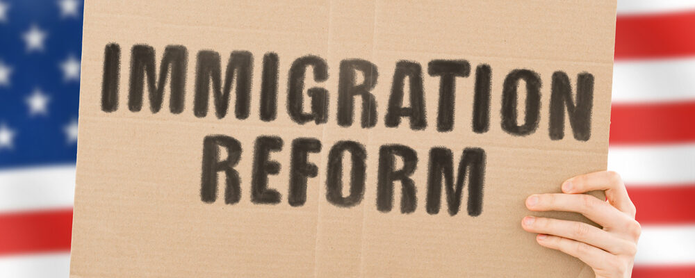 """The,Phrase,"""",Immigration,Reform,"""",On,A,Banner,In"""