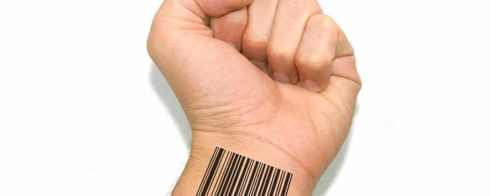 Barcoded,Hand,On,White,Background